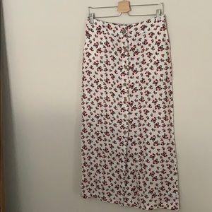 Cynthia Rowley Floral 100% Linen Maxi Skirt 4